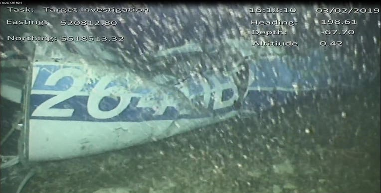 A still image from video of the wreckage of the aircraft which had carried Emiliano Sala