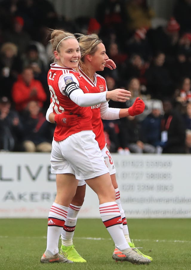 Kim Little, left, celebrates with Jordan Nobbs after putting Arsenal 1-0 up against Birmingham in the Women's Super League
