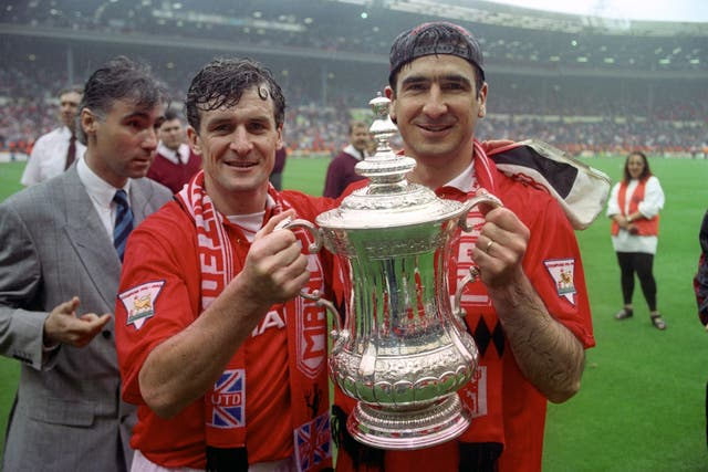 The 1994 final was a completely different story, however. Goals from Mark Hughes (left), Eric Cantona (2, right) and Brian McClair gave United a 4-0 win, completing the double