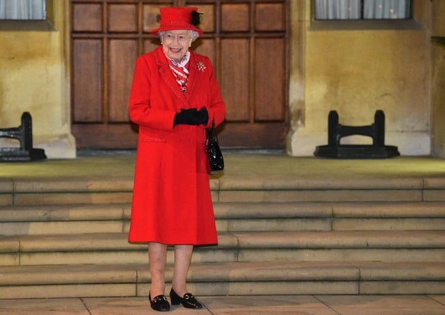 The Queen in the quadrangle at Windsor Castle