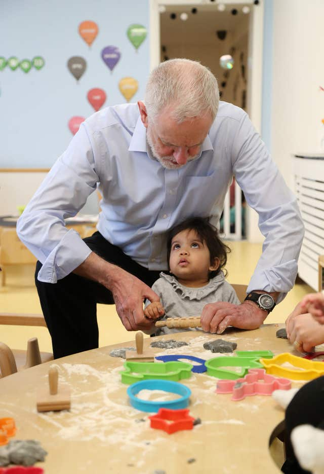 Labour leader Jeremy Corbyn during a visit to Little Learners Nursery in Watford (Gareth Fuller/PA)