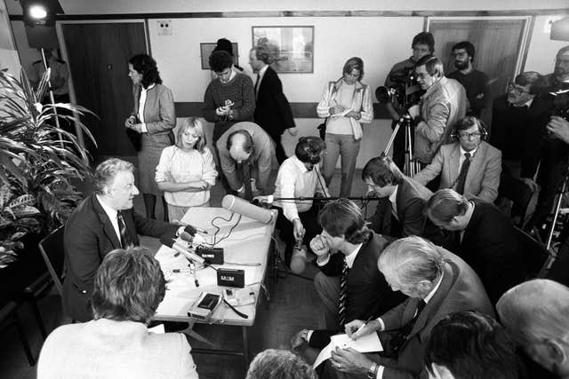 Moncrieff at a press conference in the Royal Sussex Hospital following his interview with Trade and Industry Secretary Norman Tebbit, who was injured in the explosion at the Grand Hotel, Brighton