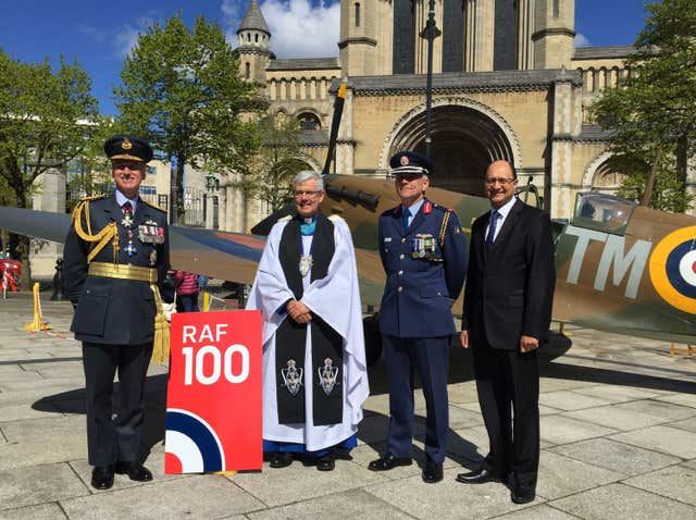 Air Chief Marshal Sir Stephen Hiller, the Very Rev Stephen Forde, Irish Air Corps Brigadier General Sean Clancy and Northern Ireland Under Secretary of State Shailesh Vara pictured ahead of an event marking the RAF's centenary at St Anne's Cathedral in Belfast (PA)