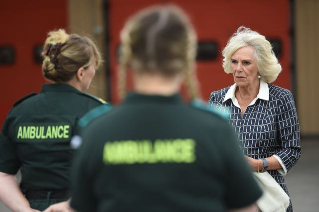 Camilla met firefighters, staff from Great Western Hospital and paramedics from South Western Ambulance Service