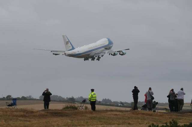 Air Force One takes off from Prestwick Airport in Ayrshire for Finland, which the president reportedly believed was part of Russia (Andrew Milligan/PA)
