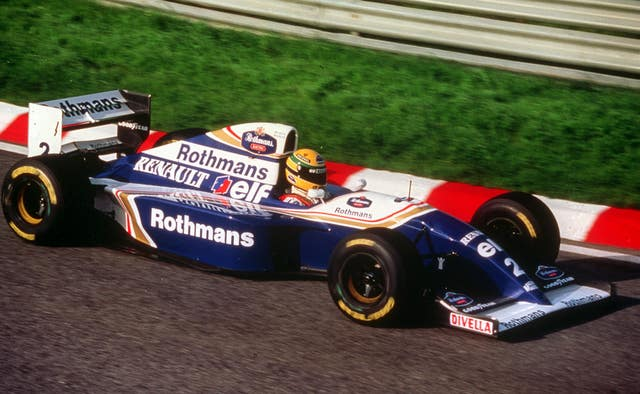 Ayrton Senna test drives the new Rothmans Williams Renault racing car at Estoril, in Portugal in 1994
