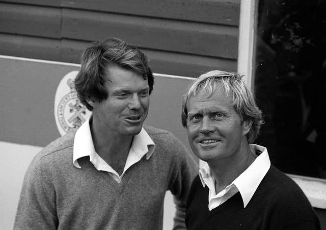 Tom Watson, left, and Jack Nicklaus were major rivals in the 1970s and 80s