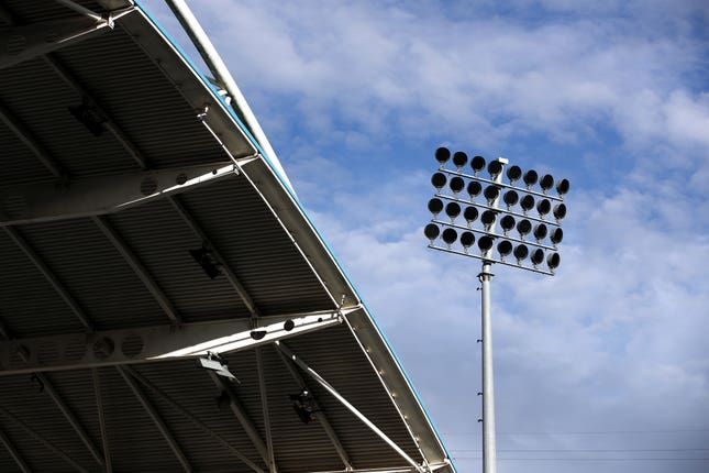 A general view of the floodlights at John Smith's Stadium
