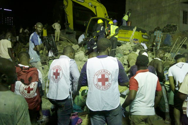 Emergency crews in Lagos worked through the night looking for survivors after a building collapsed