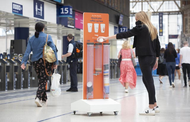 A bin has already been installed at London Waterloo (Matt Alexander/PA)