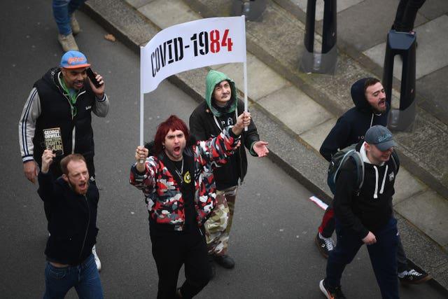 Anti-lockdown protest in central London