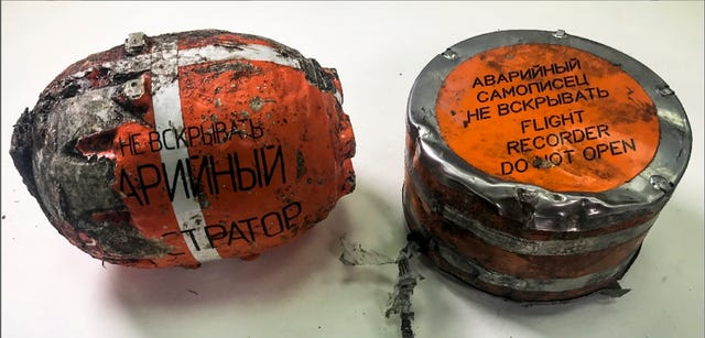 The flight recorders from the Russian passenger plane (Interstate Aviation Committee/AP)