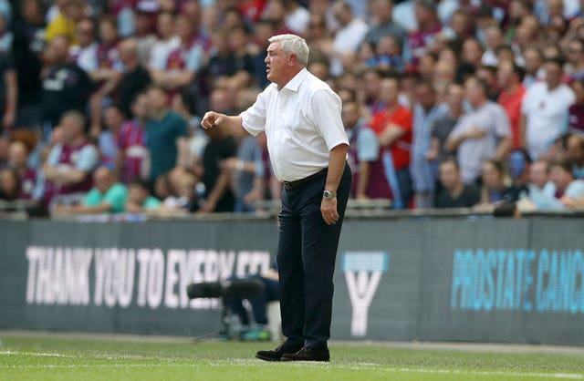 Steve Bruce led Villa to the Sky Bet Championship play-off final at Wembley in May