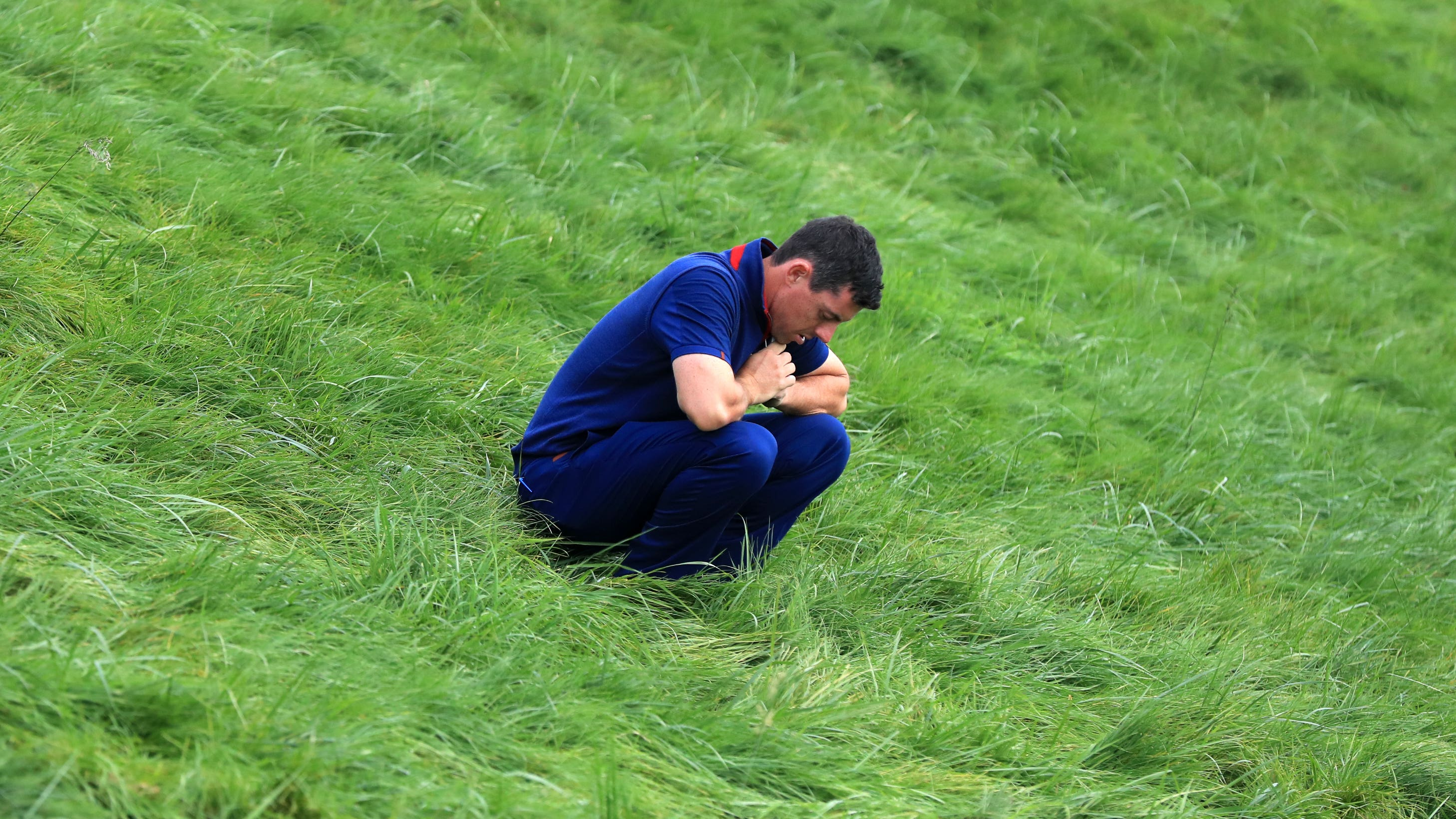 Team Europe's Rory McIlroy looked out of sorts on the opening morning of the Ryder Cup (Gareth Fuller/PA).