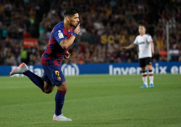 Luiz Suarez scored twice for Barcelona after coming on as a substitute