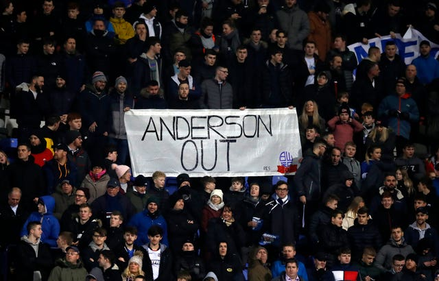 Bolton fans protest against Ken Anderson during a Championship match this season
