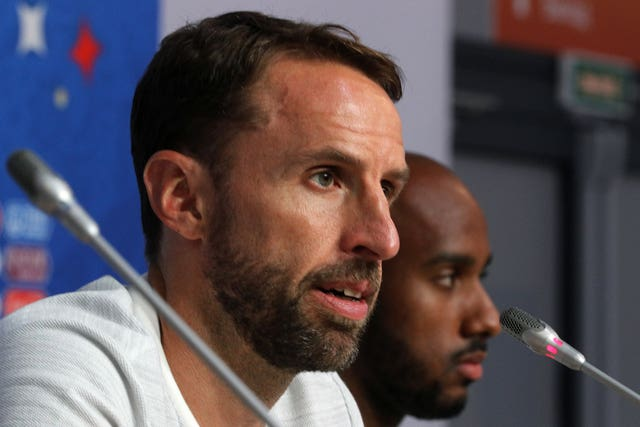 Fabian Delph, pictured right, appeared at a press conference alongside manager Gareth Southgate in St Petersburg on Friday
