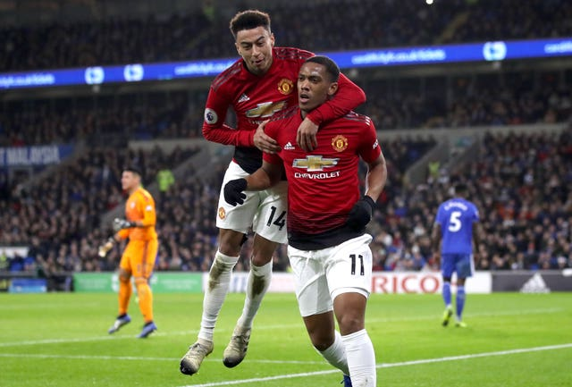 Jesse Lingard, left, and Anthony Martial