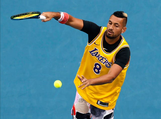 Nick Kyrgios wore a Lakers shirt during his warm-up for his Australian Open clash with Rafael Nadal