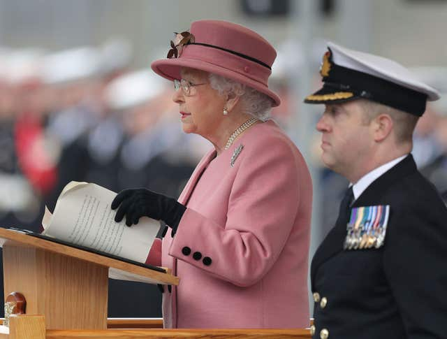 Queen Elizabeth II making a speech at the decommissioning ceremony for HMS Ocean (Andrew Matthews/PA)
