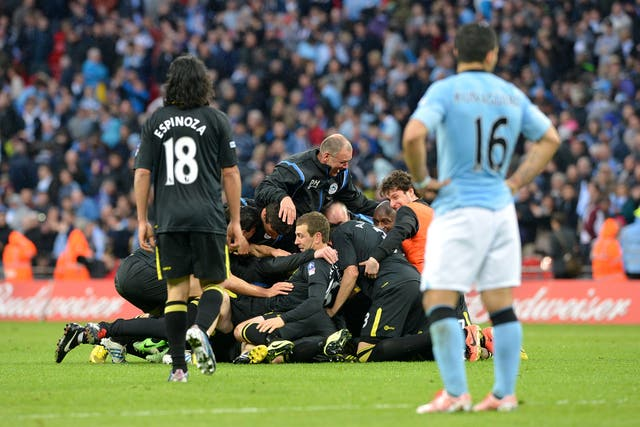 Manchester City were stunned by Wigan in the 2013 FA Cup final