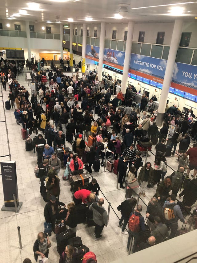 Queues of passengers at Gatwick