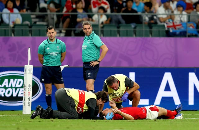 Biggar suffered a head injury at the World Cup