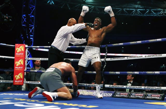 Anthony Joshua knocks down Wladimir Klitschko during their IBF, WBA and IBO heavyweight world title bout at Wembley Stadium. Joshua produced the performance of his career in front of 90,000 fans, delivering the clinical blows in the 11th round