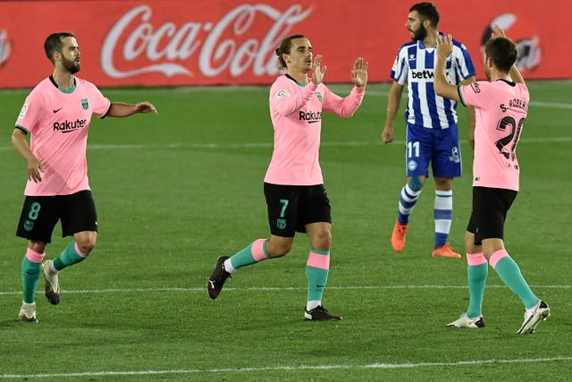 Griezmann, centre, equalised for Barcelona but could not get the winner