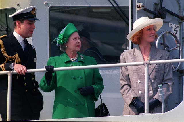 The Duke of York on his ship, HMS Cambeltown, with the Queen and the Duchess of York in 1991