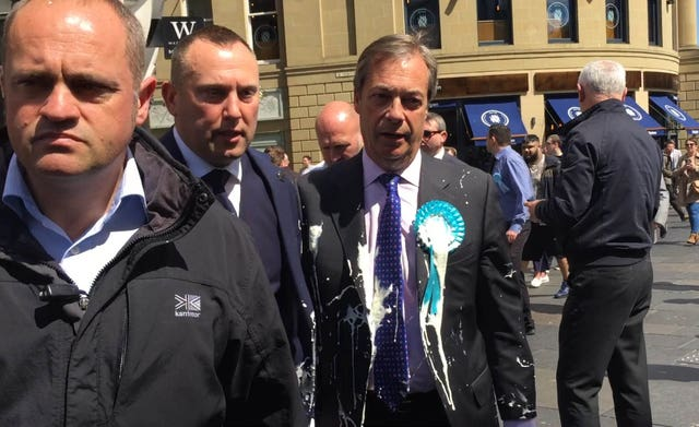 Nigel Farage was doused in milkshake during a campaign walkabout