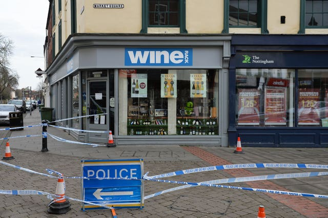 A police scene remains in place in Retford (Jacob King/PA)