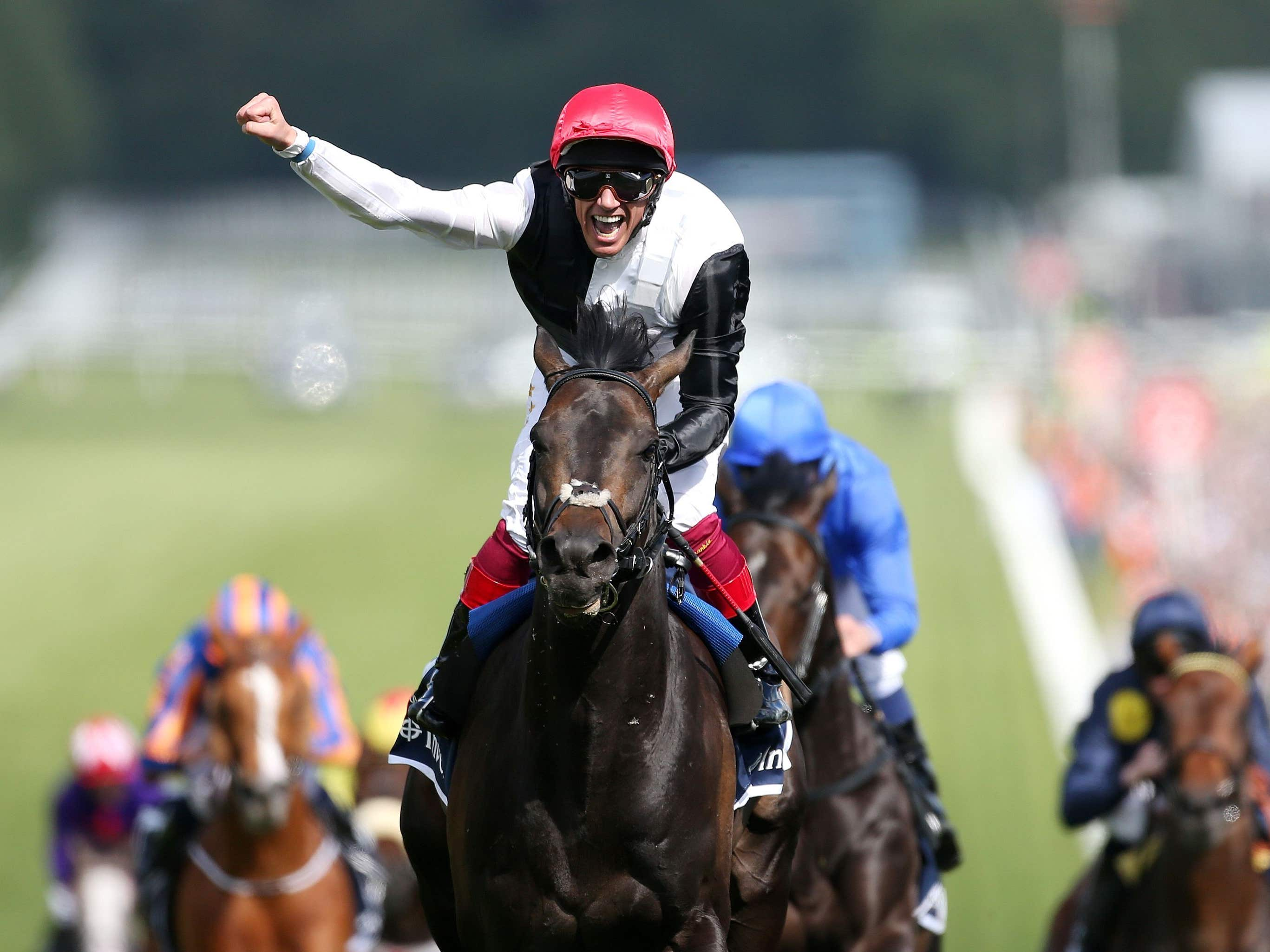 Frankie Dettori celebrates his victory on Golden Horn in the Investec Derby (David Davies/PA)