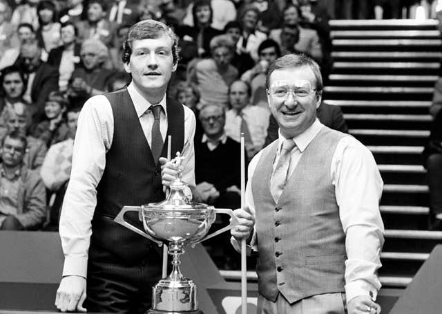 Steve Davis (left) lost to a black-ball decider against Dennis Taylor in the 1985 World Championship final at the Crucible Theatre
