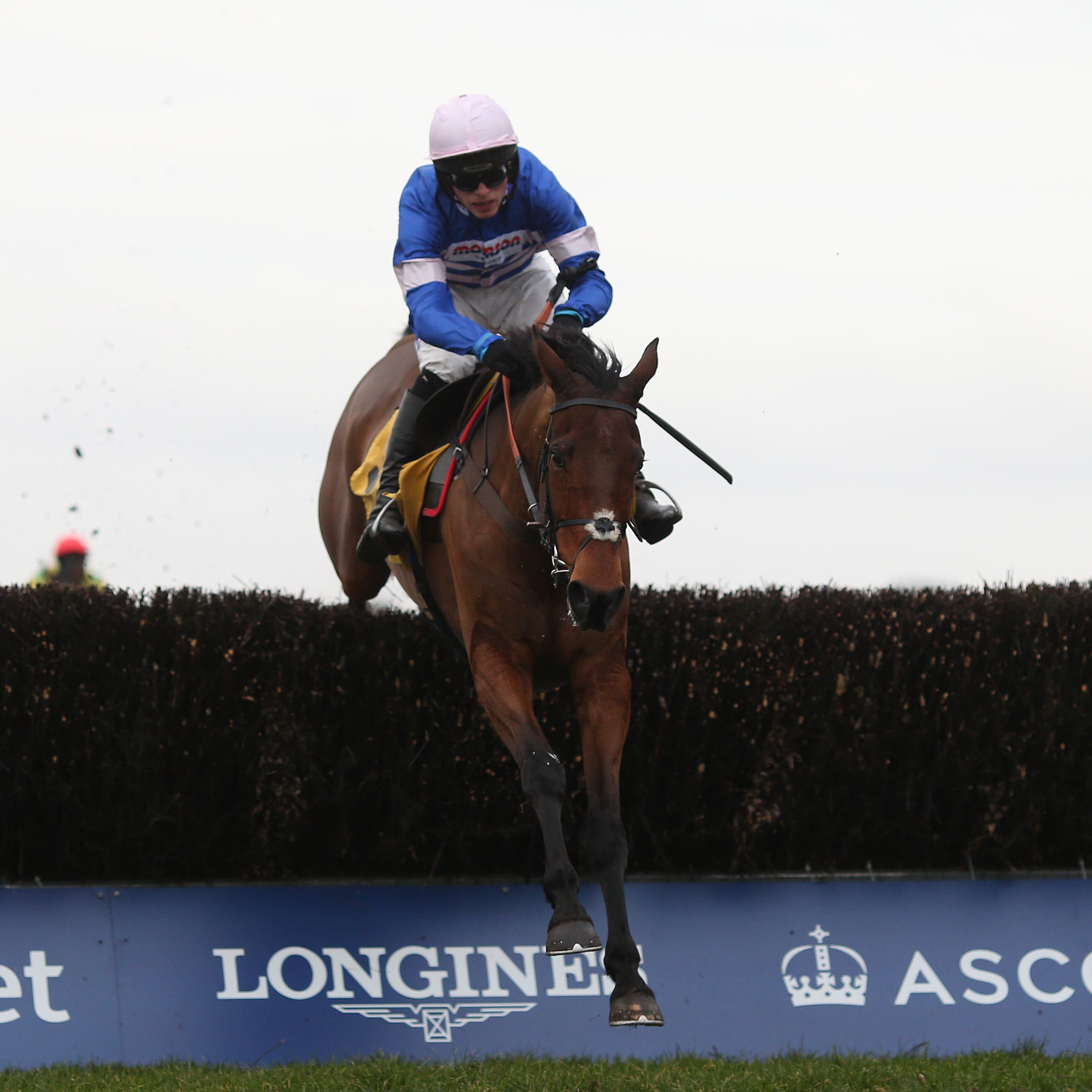Cyrname clears the last fence as he storms to victory in the Betfair Ascot Chase
