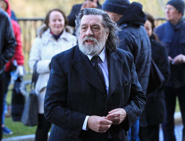 Ricky Tomlinson arrives ahead of the funeral service (Peter Byrne/PA)