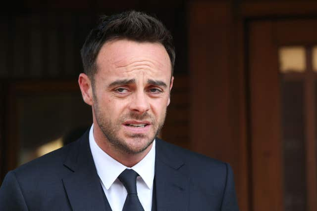 Ant McPartlin outside court in Wimbledon, London, after being fined £86,000 for drink driving (Jonathan Brady/PA)