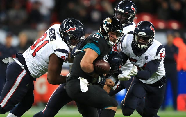 The Houston Texans  boosted their NFL play-off hopes with of a 26-3 triumph over the Jacksonville Jaguars at Wembley