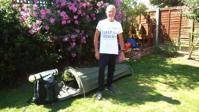 Brian Edwards with his tent (Help For Heroes/PA)