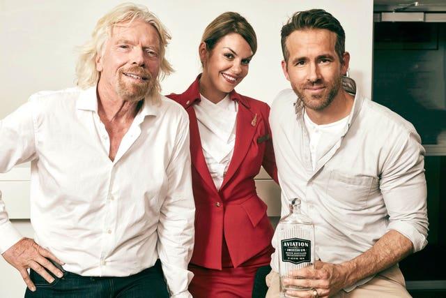 Richard Branson, left, and Ryan Reynolds, right