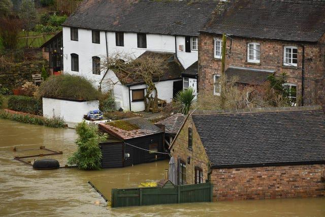 Houses surrounded by floodwater in Ironbridge