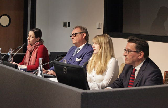 Annunziata Rees-Mogg, John Longworth, Lucy Harris and Lance Anisfeld at a press conference explaining why have left the Brexit Party