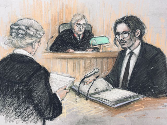Court artist sketch by Elizabeth Cook of actor Johnny Depp being cross-examined by Sasha Wass QC before the judge, Mr Justice Nicol, at the High Court in London