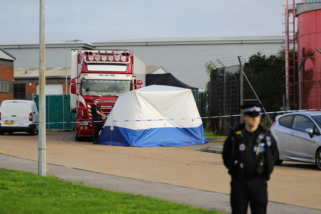 Police activity in 2019 at the Waterglade Industrial Park in Grays, Essex