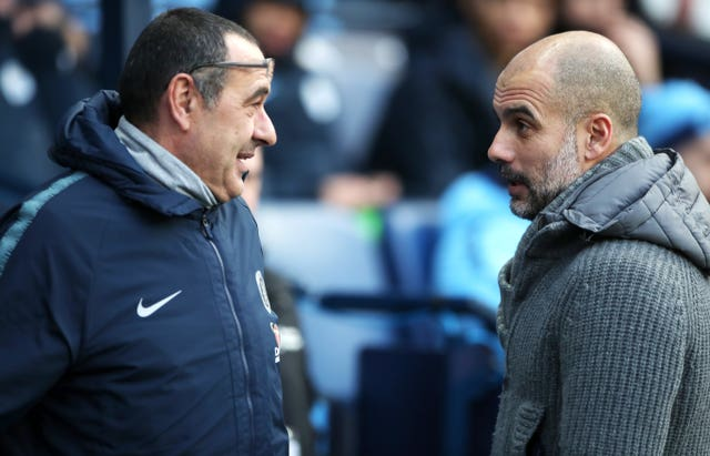 Chelsea manager Maurizio Sarri (left) and Manchester City manager Pep Guardiola are friends