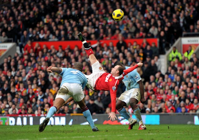 Wayne Rooney scored 253 goals for Manchester United, including this overhead kick against Manchester City in 2011