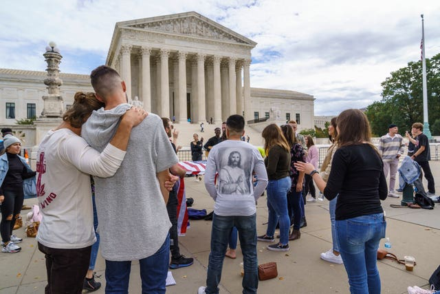 Evangelical Christians pray outside the Supreme Court (J. Scott Applewhite/AP)