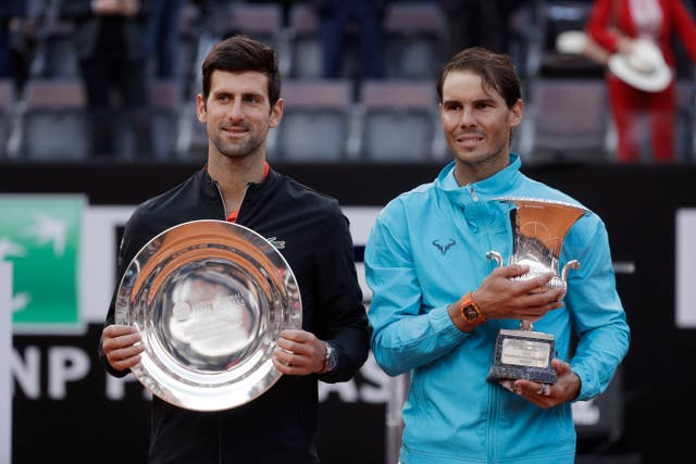 Novak Djokovic (left) and Rafael Nadal