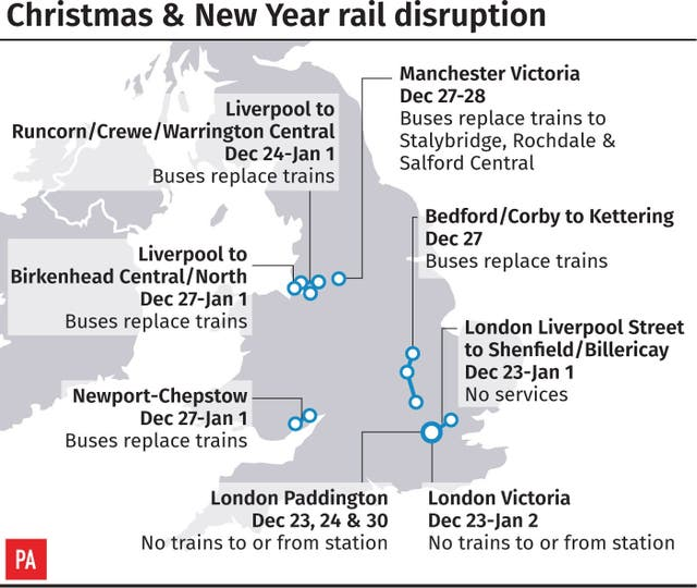 Christmas and New Year rail disruption