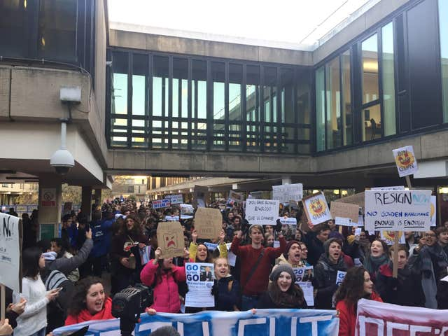 Students at the University of Bath protest at the retirement terms of vice chancellor Professor Dame Glynis Breakwell – the UK's highest paid vice-chancellor (Claire Hayhurst/PA).
